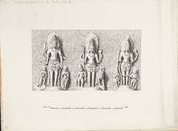Ellora: Brahma, Siva and Vishnu in Lankesvara